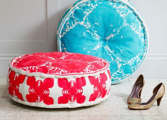 Bombay Duck Carnival Coral Embroiderd Nomad Pouff Footstool/Cushion