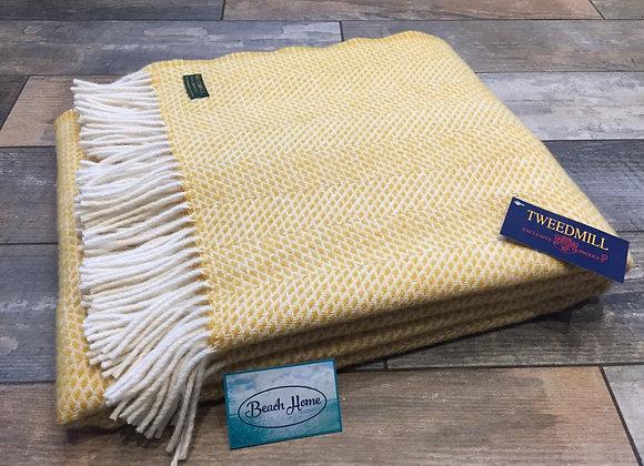 Tweedmill Textiles Pure new Wool Mustard Yellow Beehive Throw/Blanket