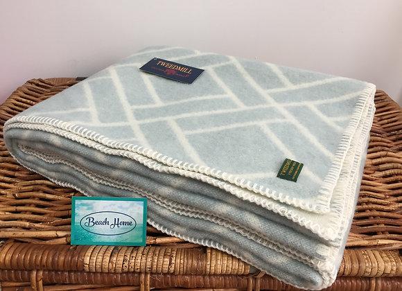 Tweedmill Textiles Pure New Wool duckegg brick jacquard Blanket/Throw