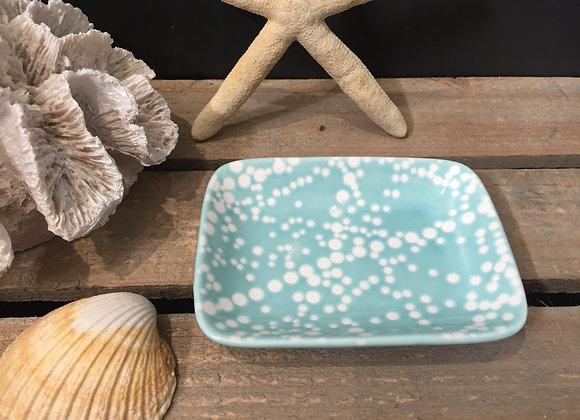 Gisela Graham blue ceramic spotty mini trinket dish