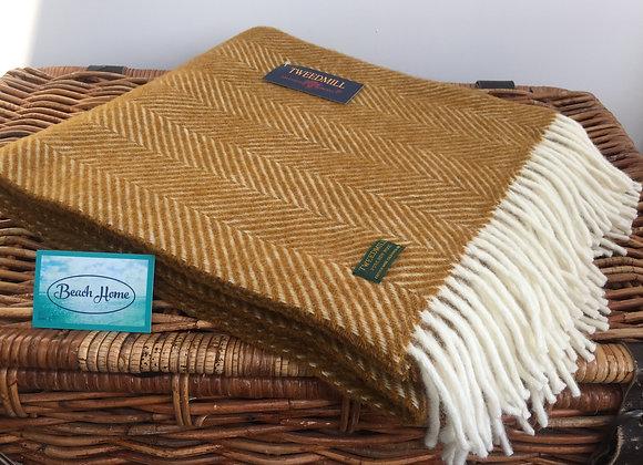 Tweedmill Textiles Mustard Fishbone knee blanket