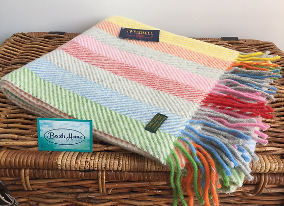 Tweedmill Textile Grey Rainbow stripe knee blanket