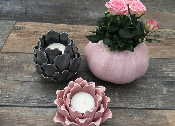 Parlane pink glazed ceramic sea urchin vase