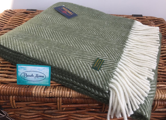 Tweedmill Textiles Olive green Fishbone knee blanket
