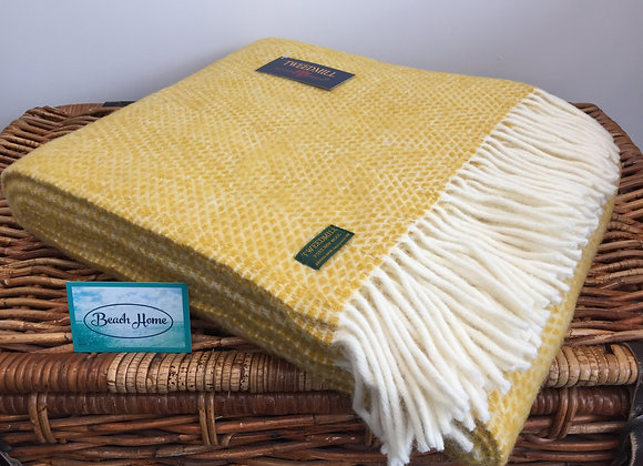 Tweedmill Textiles Pure New Wool Mustard Yellow Beehive Throw/Blanket