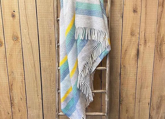 Tweedmill Textiles Horizon Illusion grey blue stripe blanket/throw