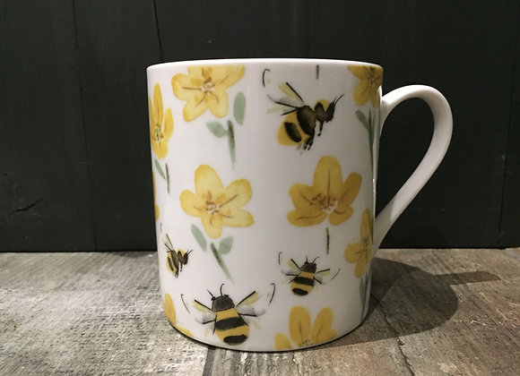 Gisela Graham bone China bees buttercup boxed mug