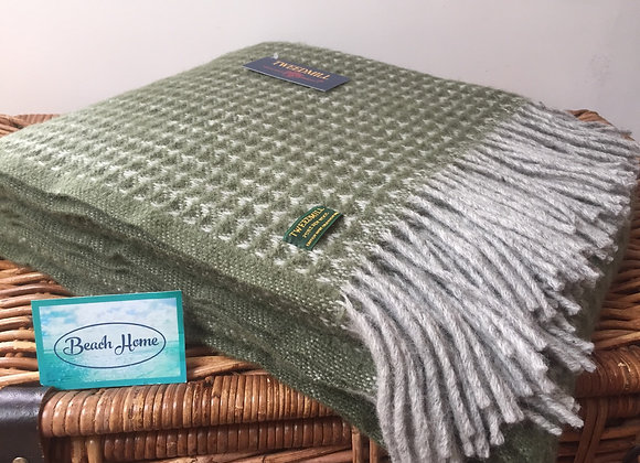 Tweedmill Textiles Pure New Wool Olive Green Treetop Throw/Blanket