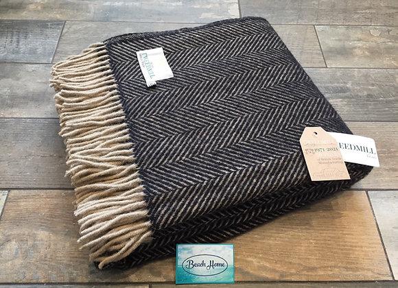 Tweedmill Textiles Pure New Wool Vintage Coffee Brown Herringbone Throw/Blanket