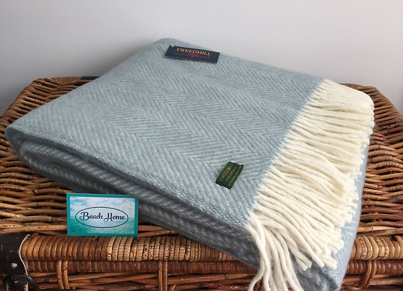 Tweedmill Textiles Pure New Wool Duck Egg Blue/Cream Fishbone Throw/Blanket