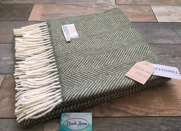 Tweedmill Textiles Olive green Fishbone knee blanket