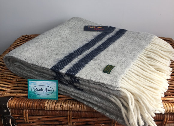 Tweedmill Textiles Pure New Wool grey fishbone With 2 Navy Stripe Throw/Blanket