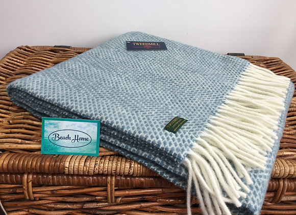 Tweedmill Textiles petrol blue beehive pure wool knee blanket