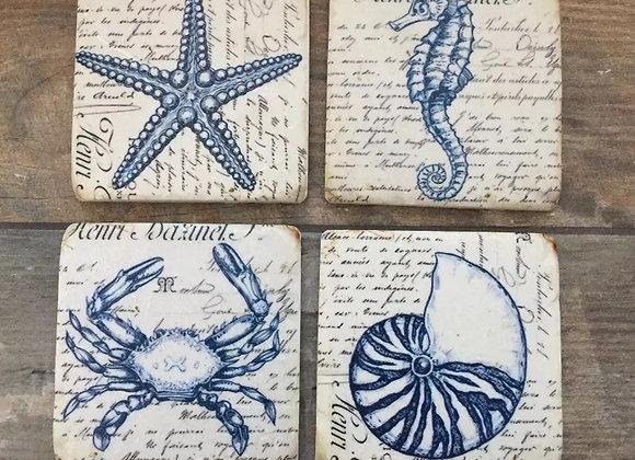 Set of 4 seahorse/ starfish sea life luxury resin coasters