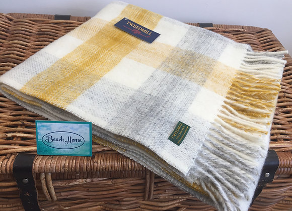 Tweedmill Textiles Yellow Meadow check Pure wool knee Blanket