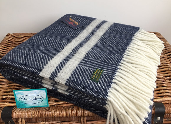 Tweedmill Textiles Pure New Wool navy fishbone With 2 grey Stripe Throw/ blanket