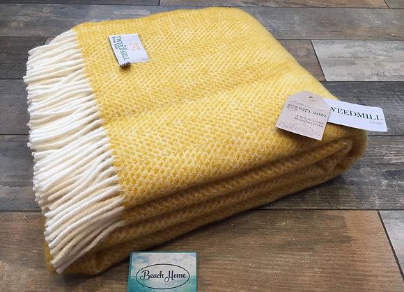 Tweedmill Textiles Pure new Wool Yellow bee Throw/Blanket
