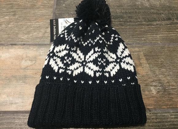 Fair Isle Navy Chunky Knit Unisex Beanie/Bobble Hat