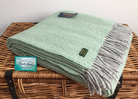 Tweedmill Textiles Pure New Wool Laurel green/ Grey Herringbone Blanket