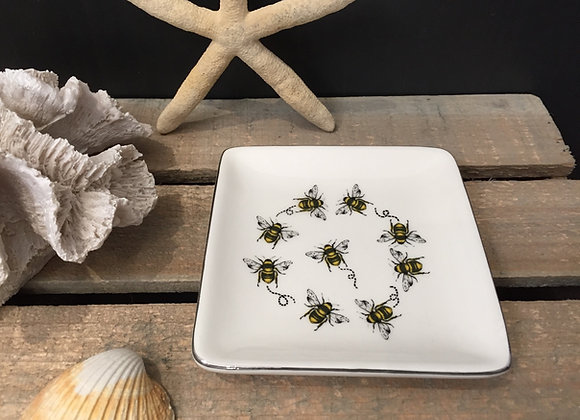 Gisela Graham white square Bee jewellery/ trinket dish