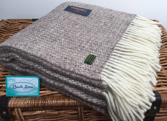 Tweedmill Textiles Pure New Wool Neutral/ Brown Illusion Throw/Blanket