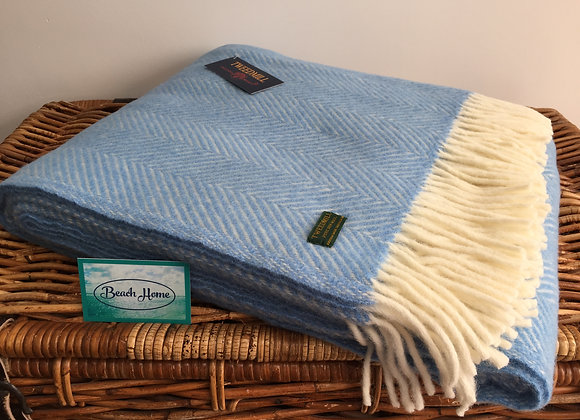 Tweedmill Textiles Pure New Wool Sea Blue/Cream Fishbone Throw/Blanket