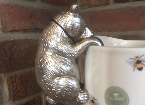 Parlane platinum coloured resin bear pot hanger