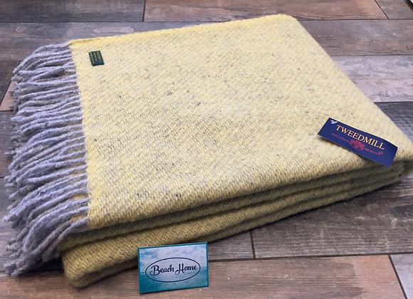 Tweedmill Textiles Pure New Wool Yellow and Grey Boa Throw/Blanket 150x200