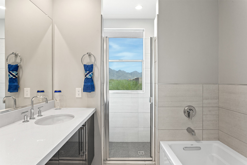 Enjoy the McDowell Mountain views from your spa-like bathroom.