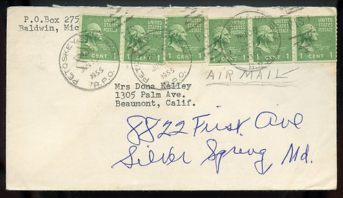 U.S. Scott 839 (6) Coils on 1955 Air Mail Letter w/Michigan RPO Cancels