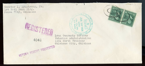U.S. Scott 825 (2) Prexies on Registered Return Receipt 1954 Oklahoma Cover