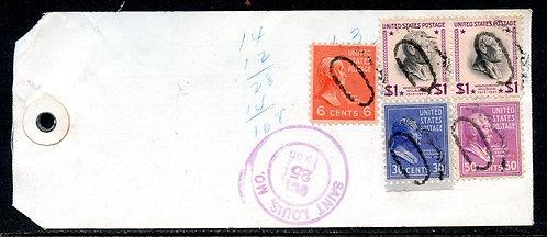 U.S. Scott 832 (2), 831, 830, 811 Prexies on Registered 1955 Illinois Bank Tag