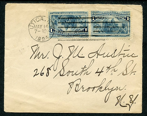 U.S. Scott 230 Pair Paying First Class Rate on 1894 Utica, NY Cover