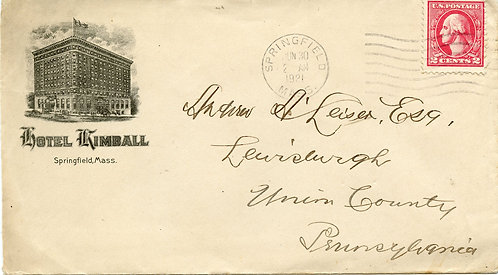 U.S. Scott 528A on 1921 Ad Cover for the Hotel Kimball in Springfield, Mass.