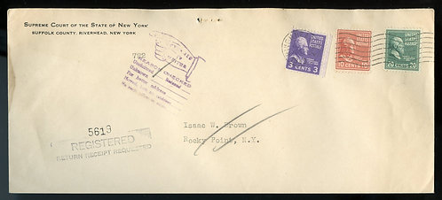 U.S. Scott 825, 815 and 807 Prexies on Registered Return Receipt 1949 Cover