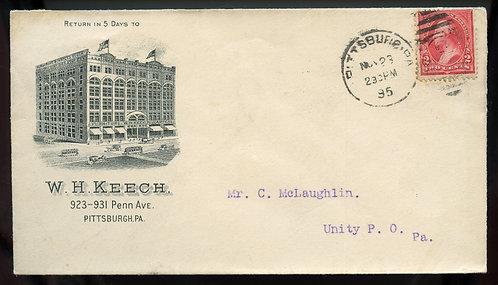 U.S. 1st Bur. Issue on 1895 Ad Cover for W. H. Keech in Pittsburgh