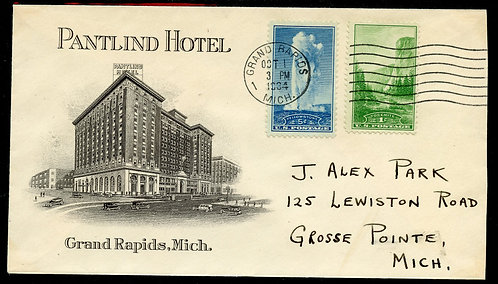 U.S. Scott 740 & 744 on 1934 2-sided Pantlind Hotel Grand Rapids, MI Ad Cover