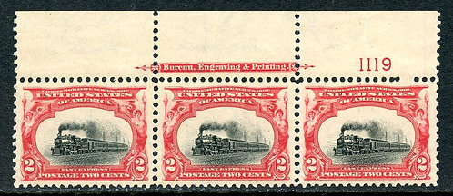U.S. Scott 295 VF-XF Plate # Strip of Three