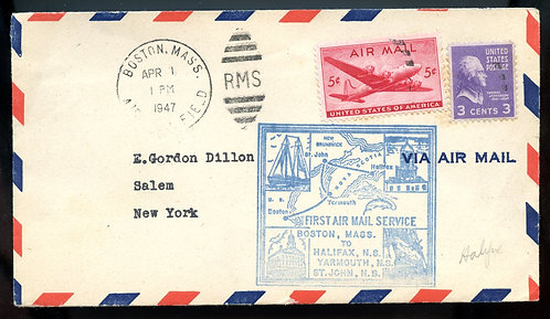 U.S. Scott C32 and 807 on 1947 Cover for First Boston to Nova Scotia Mail Flight