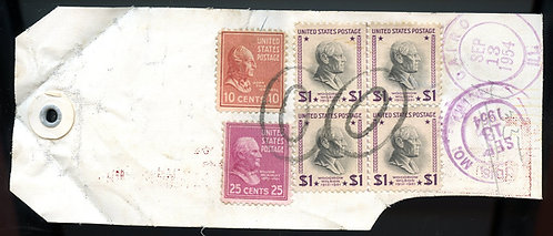U.S. Scott 832 (4), 829 and 815 Prexies on Registered  Illinois Bank Tag
