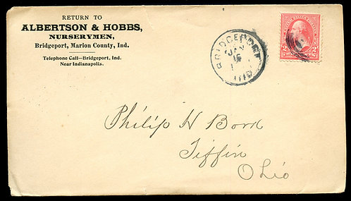 U.S. Type III 1st Bur. Issue on 1899 Ad Cover for Albertson & Hobbs Nurserymen