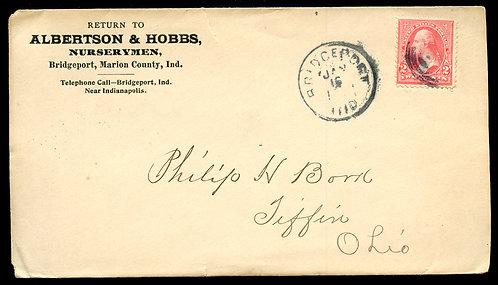 U.S. Type III 1st Bur. Issue on 1899 Ad Cover for Albertson & Hobbs Nurserymen