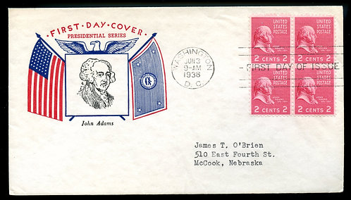 U.S. Scott 806 (4) Fidelity FDC Post Marked in Washington, DC