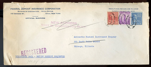 U.S. Scott 815, 810 Prexies and 901 on Reg. Ret. Rcpt. December 7, 1940 Cover