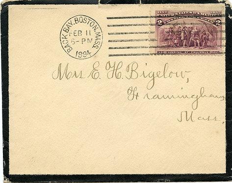 U.S. Scott 231 on 1894 Mourning Cover Sent from Boston, Massachusetts