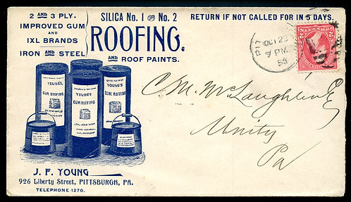 U.S. 1st Bur. Issue on 1895 Ad Cover for J. F. Young Roofing in Pittsb