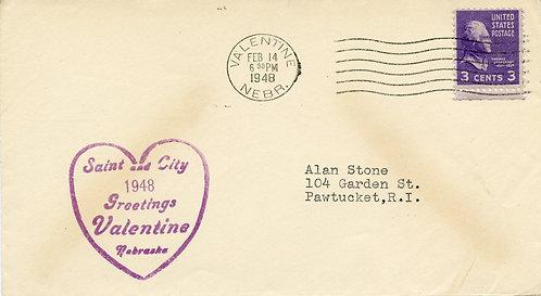 U.S. Scott 807 On 1948 Valentine's Day Cover from Valentine, Nebraska