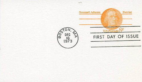 U.S. Scott UY24 8 Cent Samuel Adams Reply Postal Card FDC
