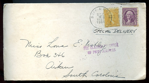 U.S. Scott 715, 720 on 1932 RPO Special Delivery Cover