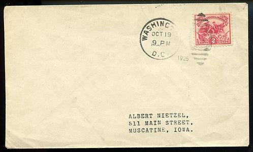 U.S. Scott 629 on 1926 Cover from Washington, DC to Muscatine, Iowa